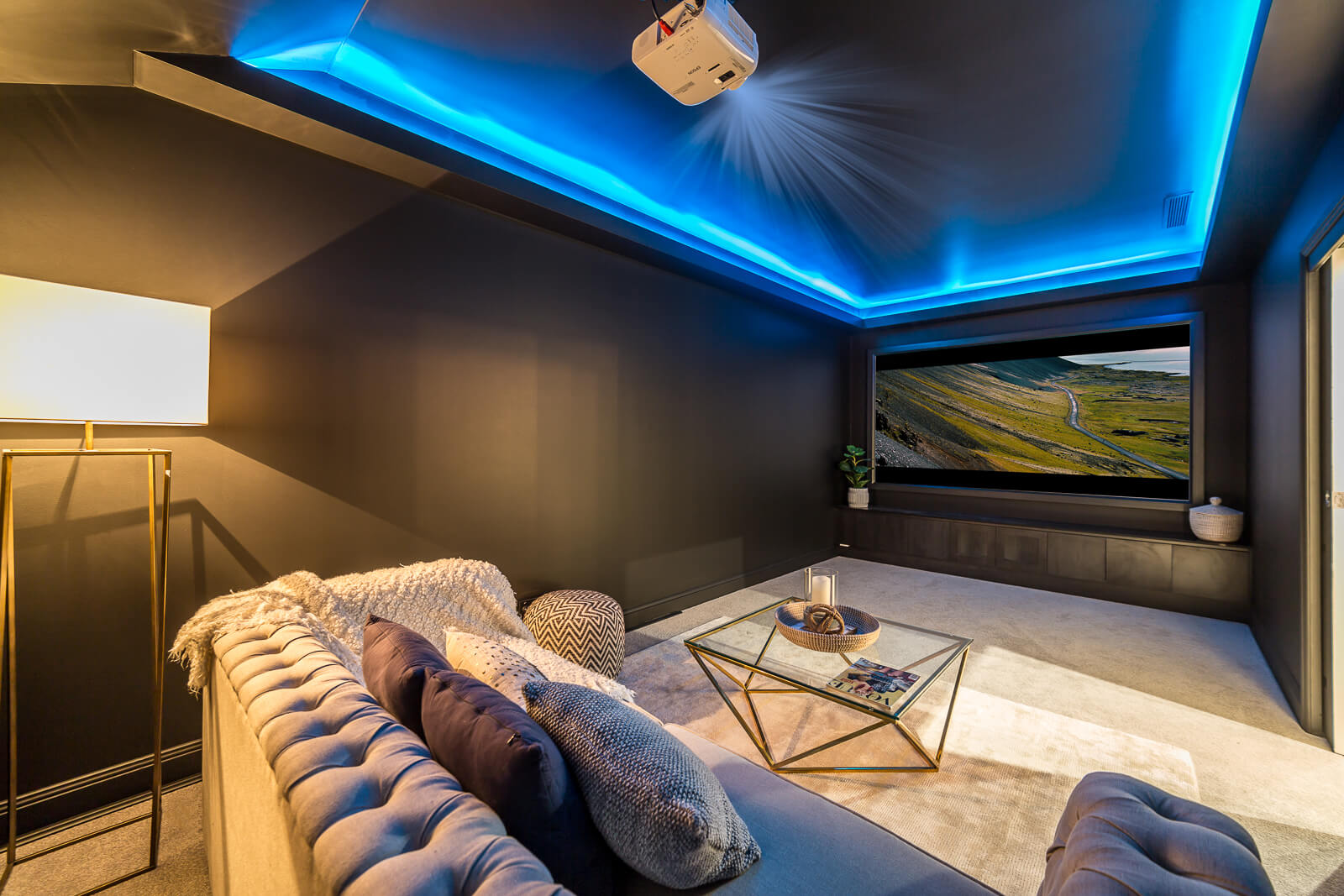 Blue LED strip lighting in ceiling cove